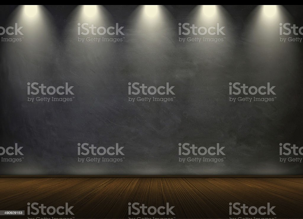 black chalkboard in empty room stock photo