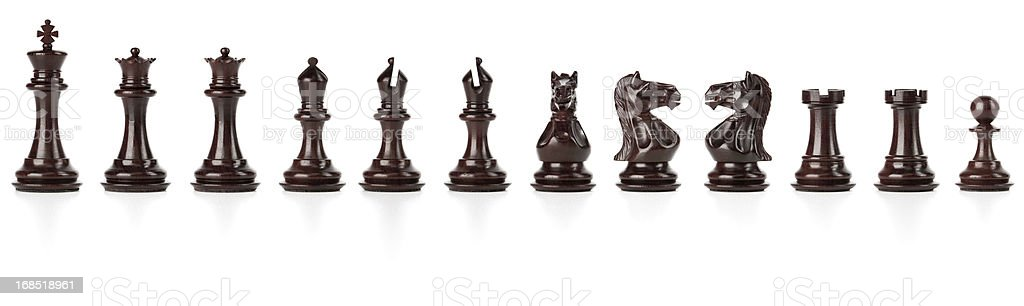 Black Chess Set isolated with clipping path stock photo