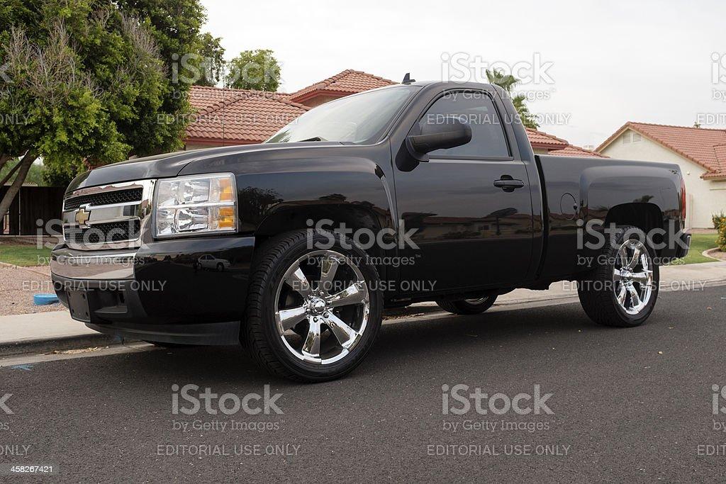 Black Chevrolet Silverado stock photo