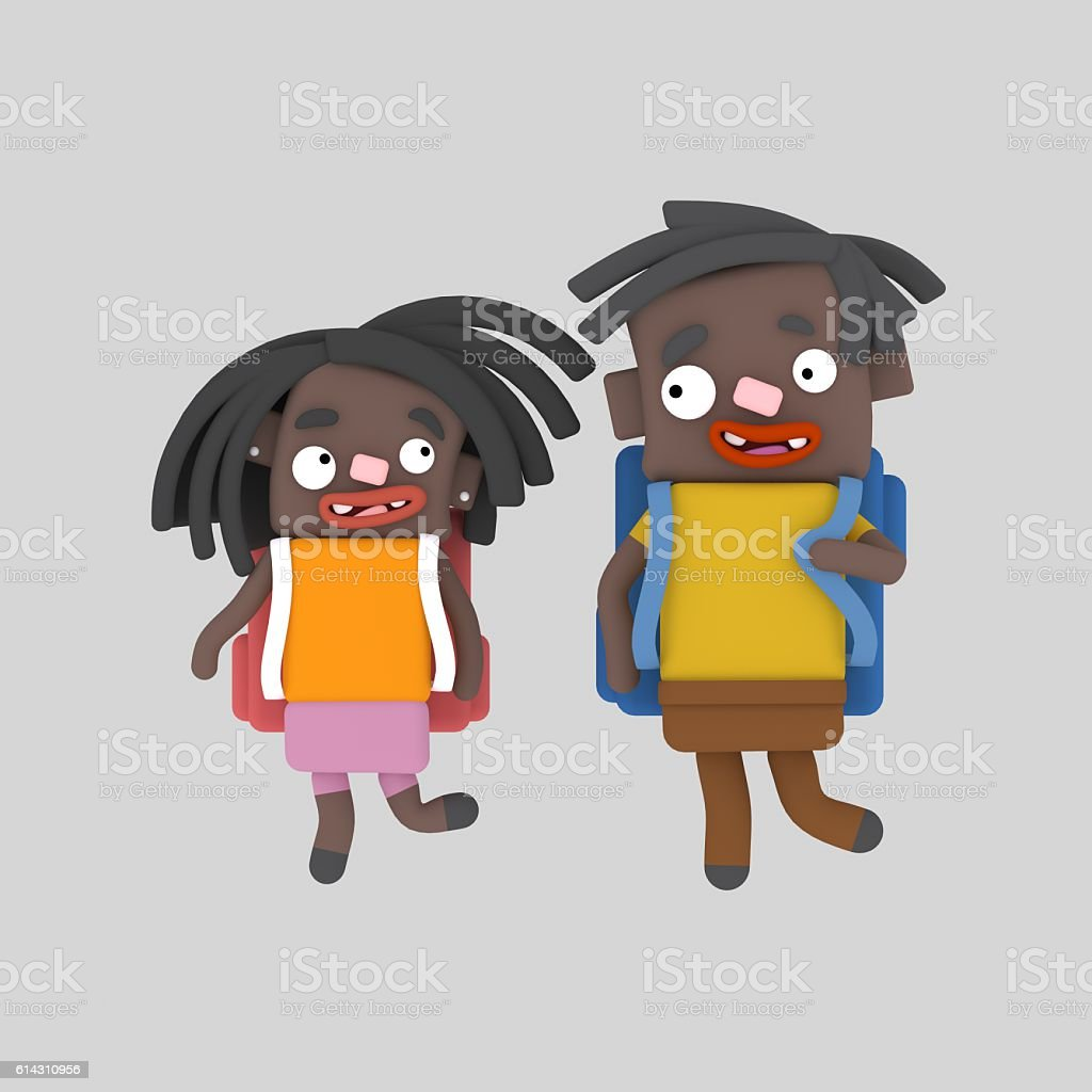 Black children with bags stock photo