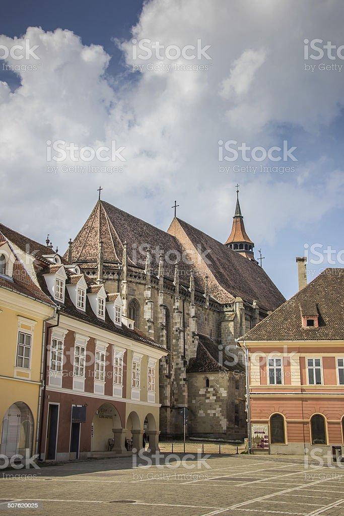 Black church at the central square in Brasov stock photo
