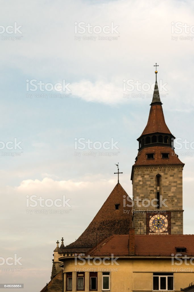Black Church Tower in Brasov, Transylvania, Romania stock photo