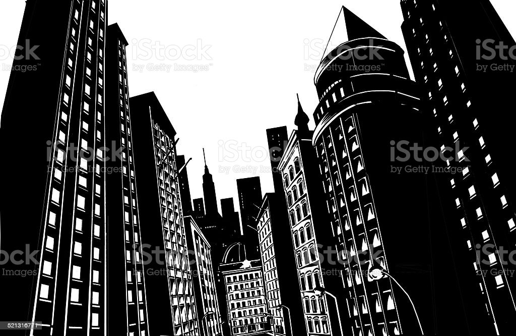 Black city on white background stock photo