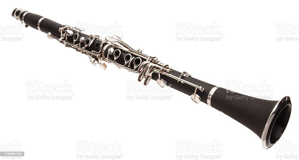 Black clarinet on white background stock photo