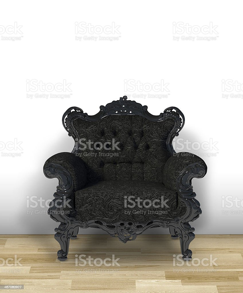 Black classic luxury chair on white room royalty-free stock photo