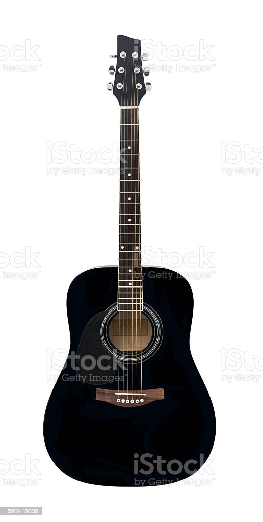 Black Classical Acoustic Guitar Isolated on a White Background stock photo