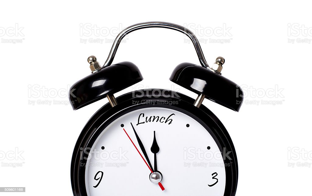 Black clock concept - Lunch stock photo