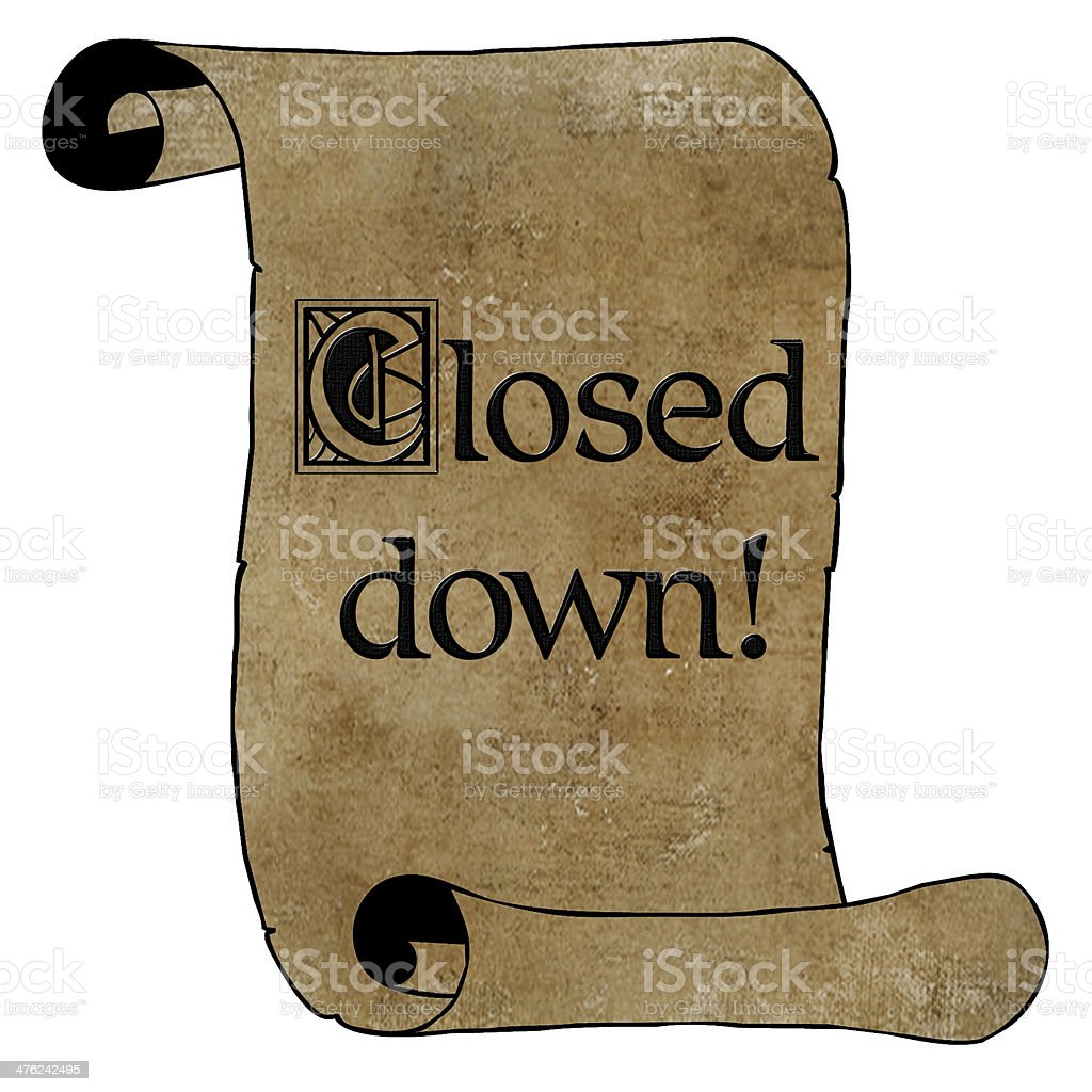3D Black Closed Down Notice on Scroll royalty-free stock photo