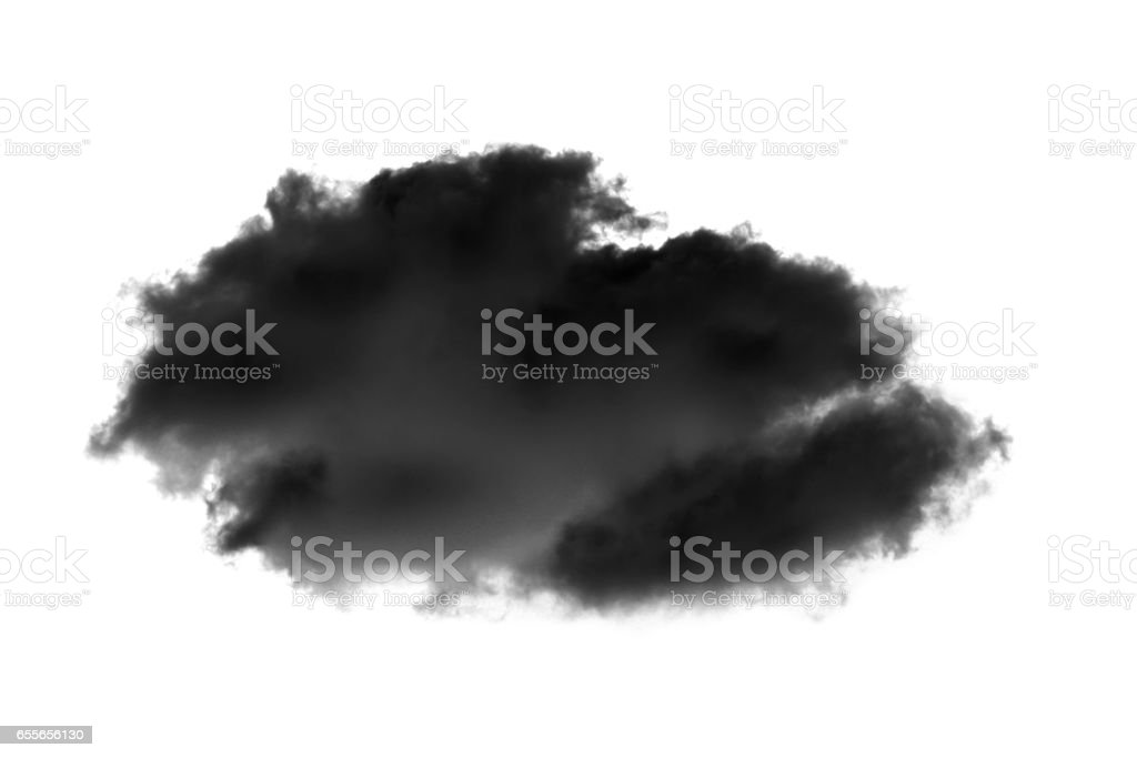 black clouds or smoke isolated on white background stock photo