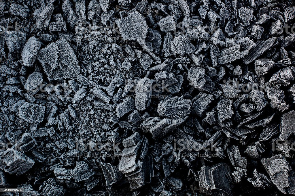 Black coal in white frost. stock photo