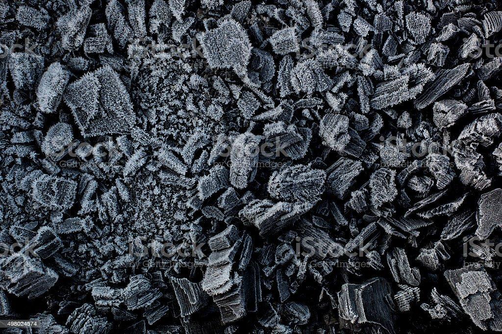 Black coal in white frost. stock photo