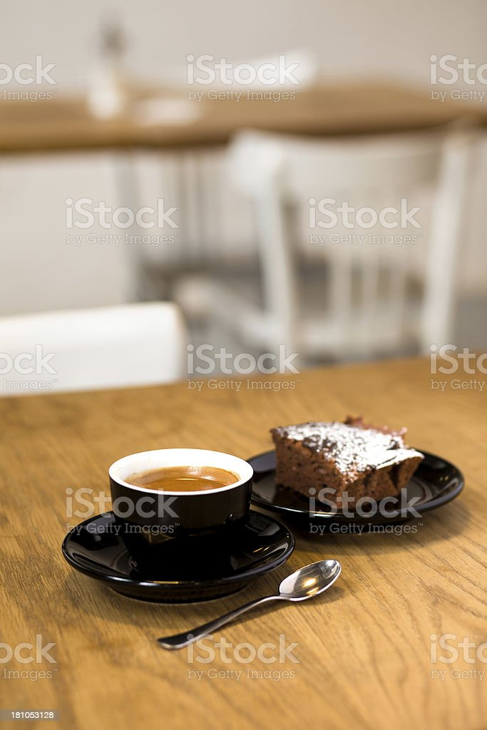 Black coffee and a brownie. royalty-free stock photo