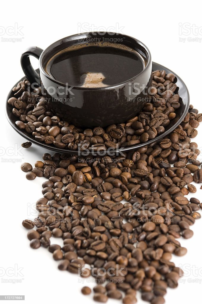 Black Coffee and Beans royalty-free stock photo