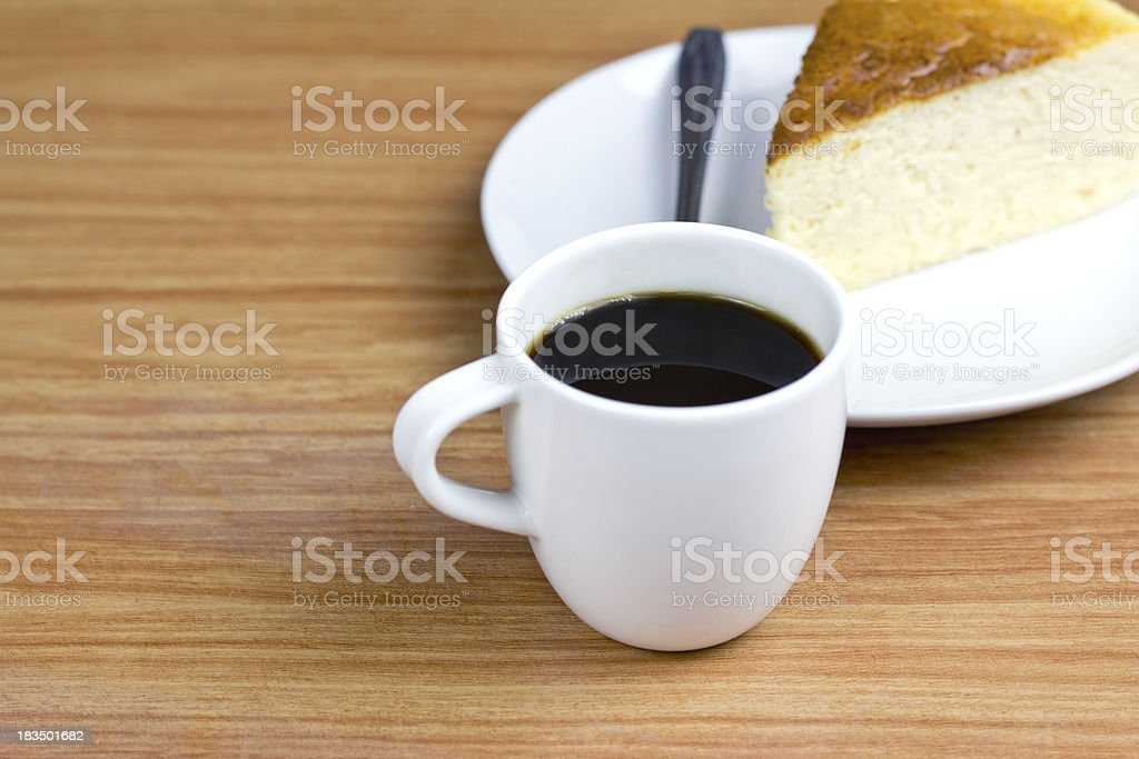 black coffee and Chesse cake stock photo