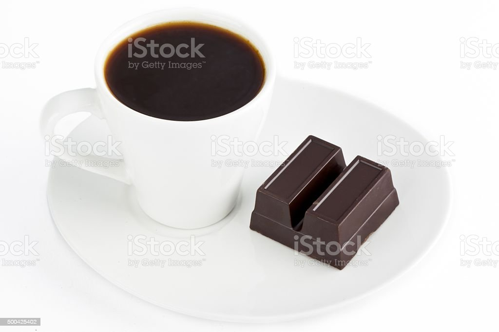 black coffee and chocolate bar stock photo