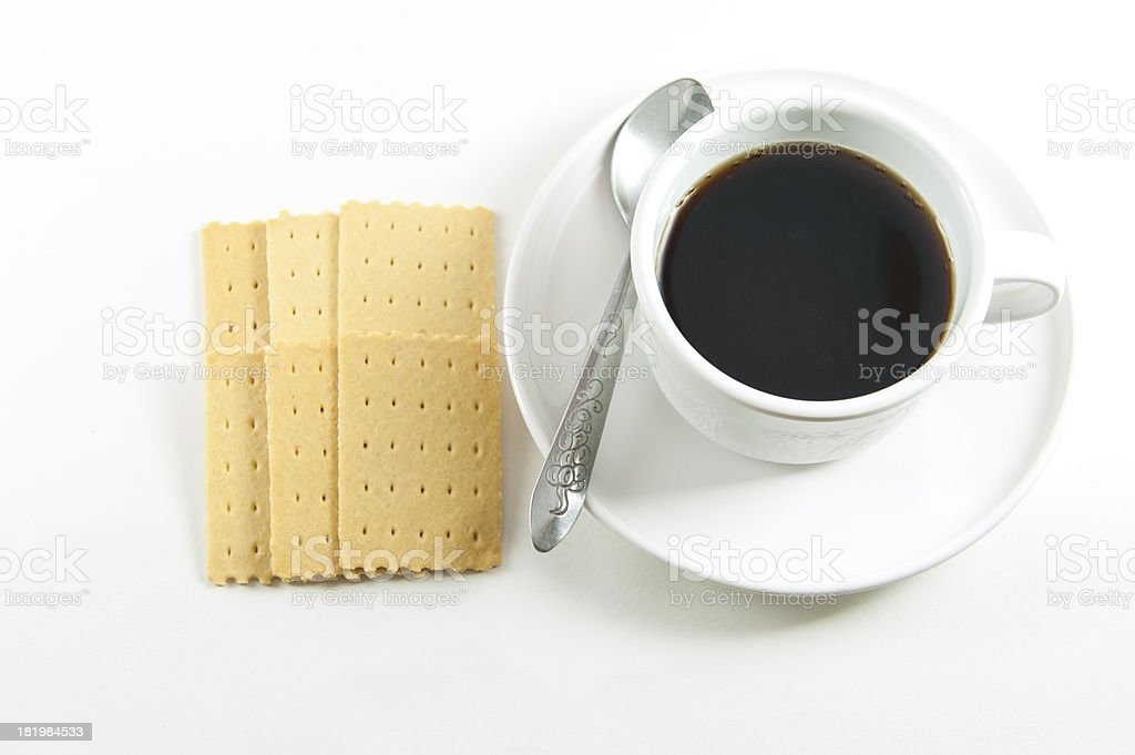 Black coffee and cookies royalty-free stock photo