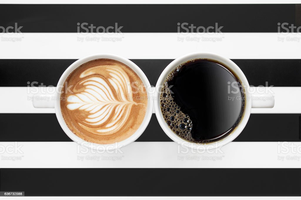 Black coffee and latte stock photo