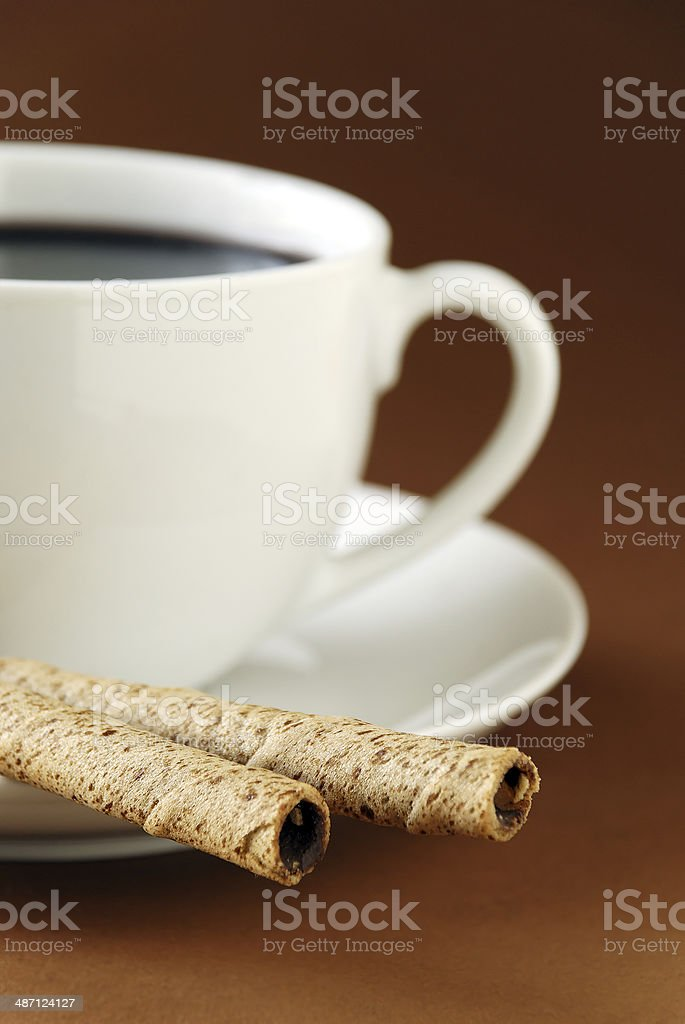 black coffee and wafers royalty-free stock photo
