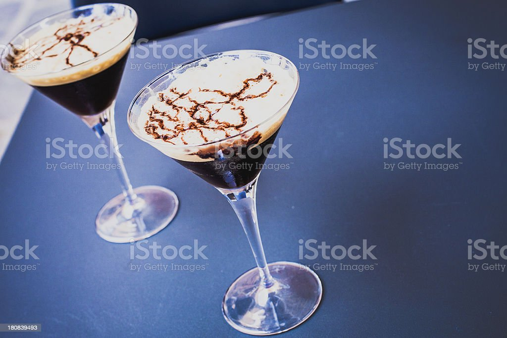 Black Coffee Cocktail at Bar Table royalty-free stock photo