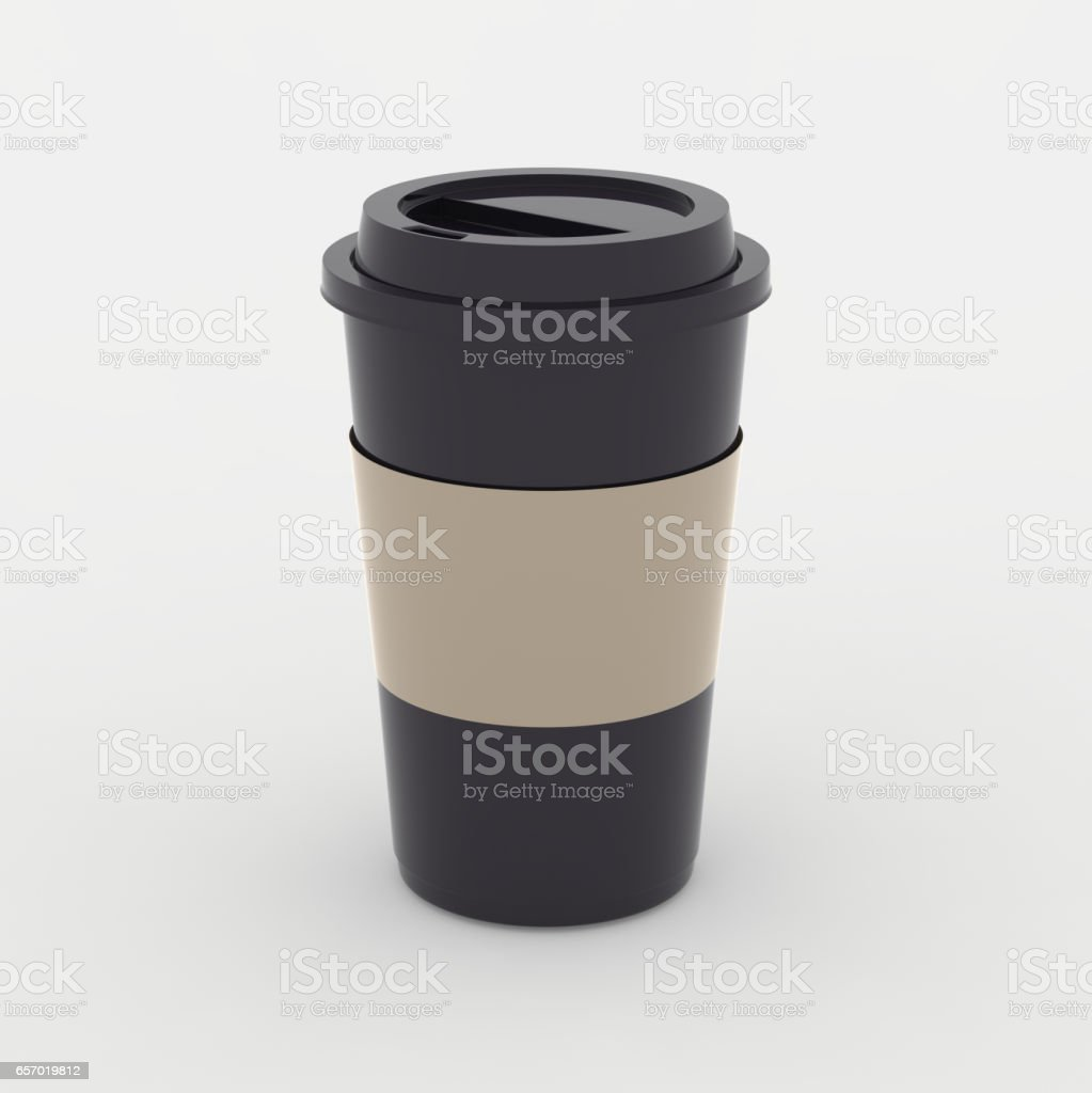 Black coffee cup mock up on white background with soft shadows and highlights stock photo