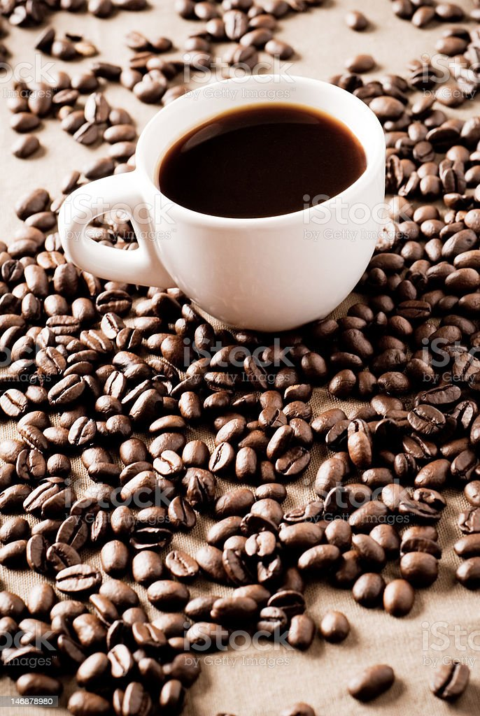 Black Coffee Cup With Beans royalty-free stock photo