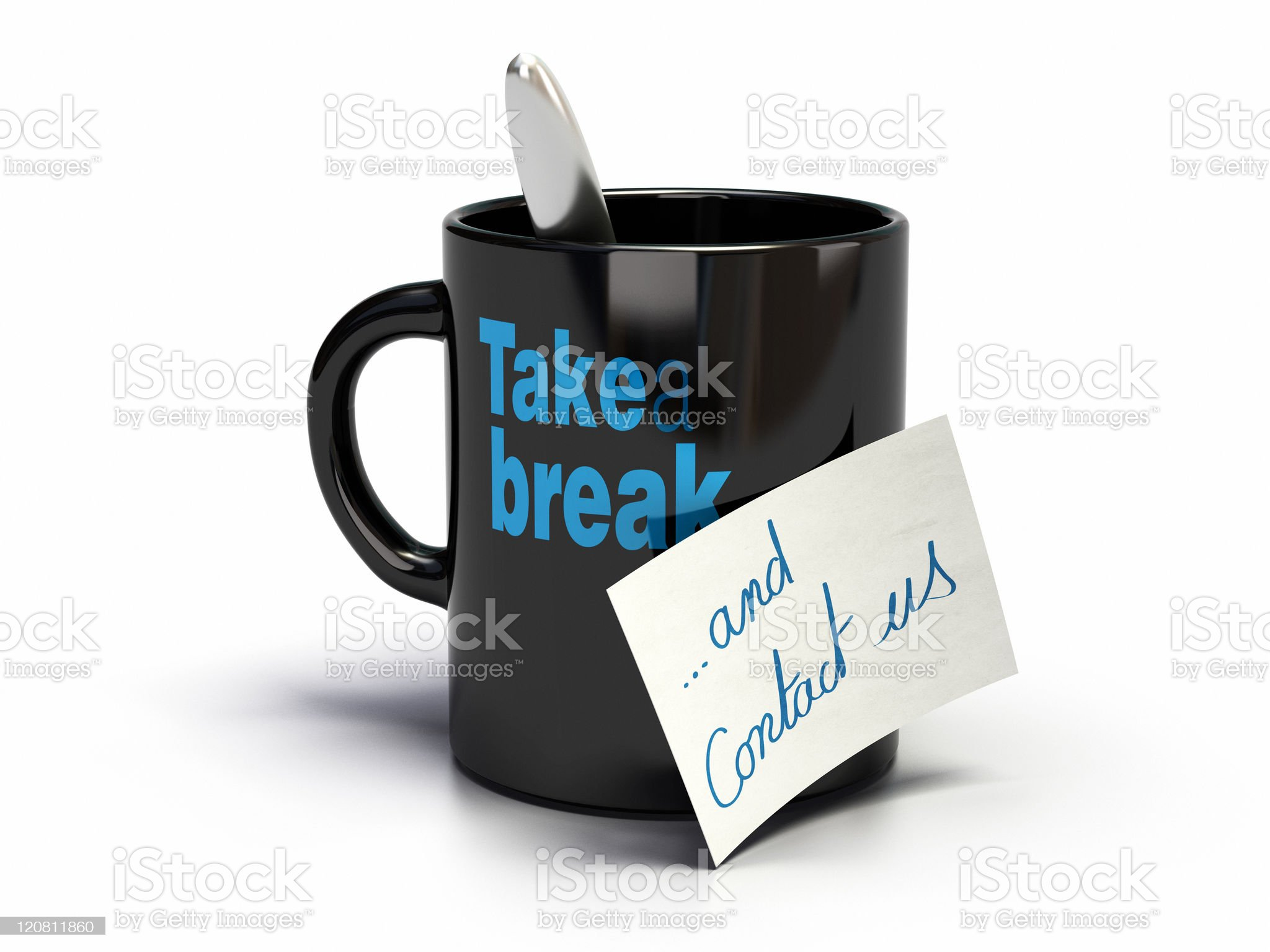 Black coffee cup with blue lettering and a note royalty-free stock photo