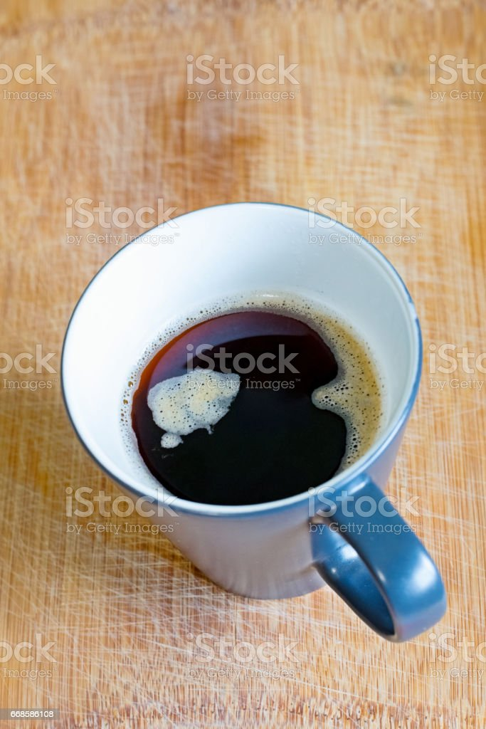 Black coffee in a cup for a good start to the day stock photo