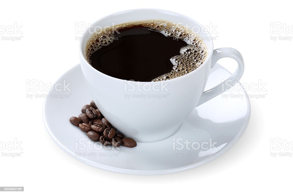 Black coffee in cup mug isolated stock photo