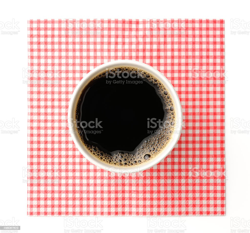 Black coffee in disposable cup with napkin on white background stock photo