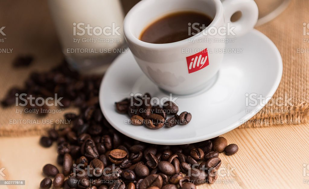 Black Coffee in original Illy Brand Cup stock photo