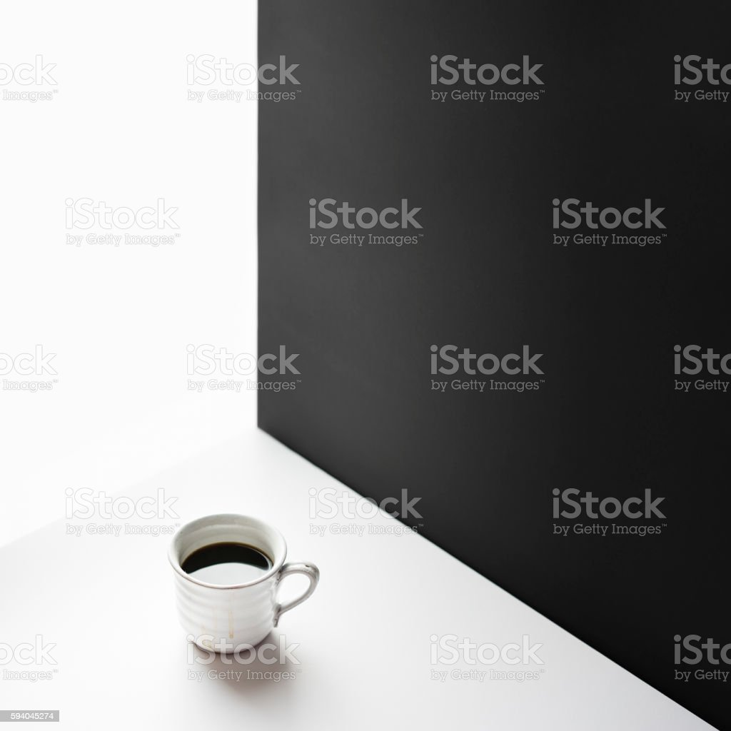 Black coffee in white ceramic mug stock photo