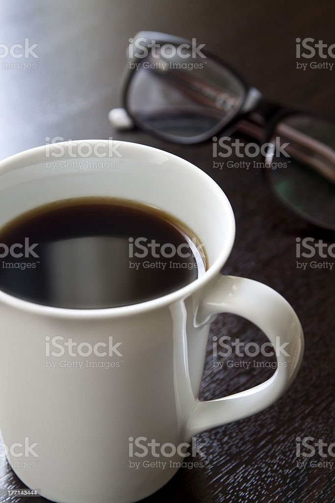 black coffee in white cup and glasses royalty-free stock photo