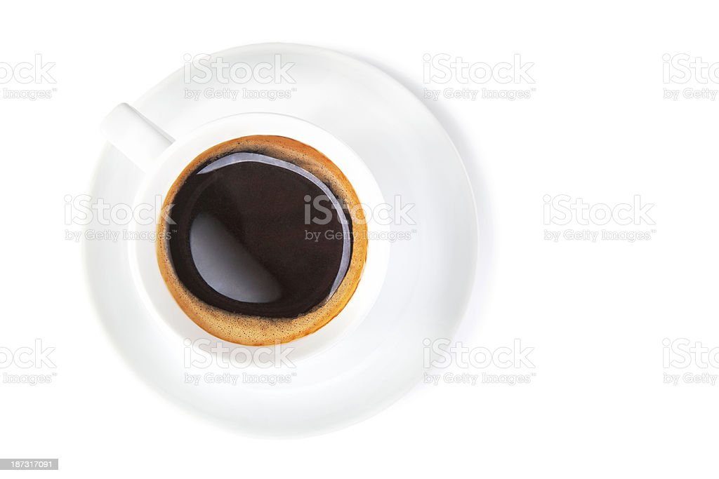 Black coffee in white cup from above royalty-free stock photo
