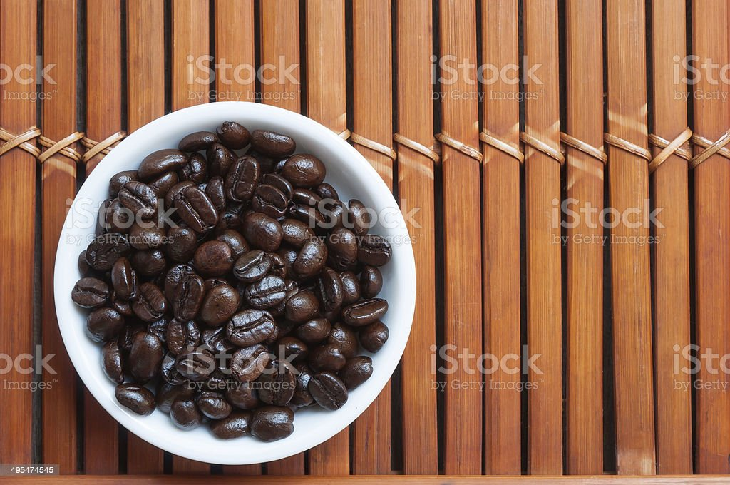 Black coffee in white cup stock photo