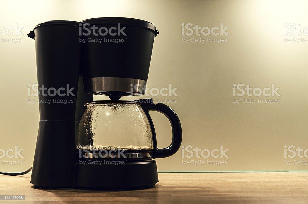 Black coffee machine, making a pot of hot coffee stock photo