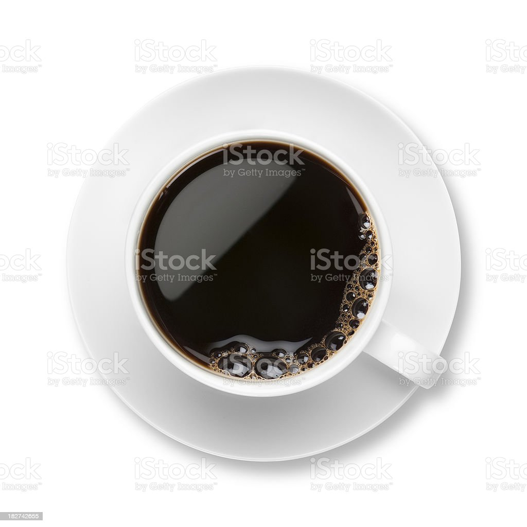 Black Coffee in a white cup and saucer with bubbles stock photo