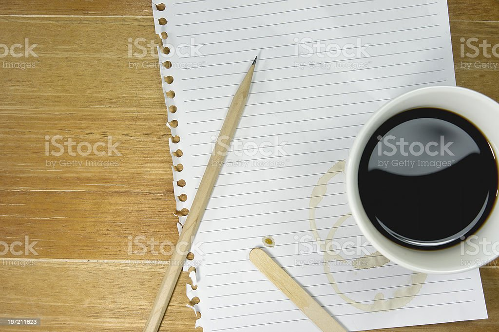 black Coffee with plain paper and pencil royalty-free stock photo