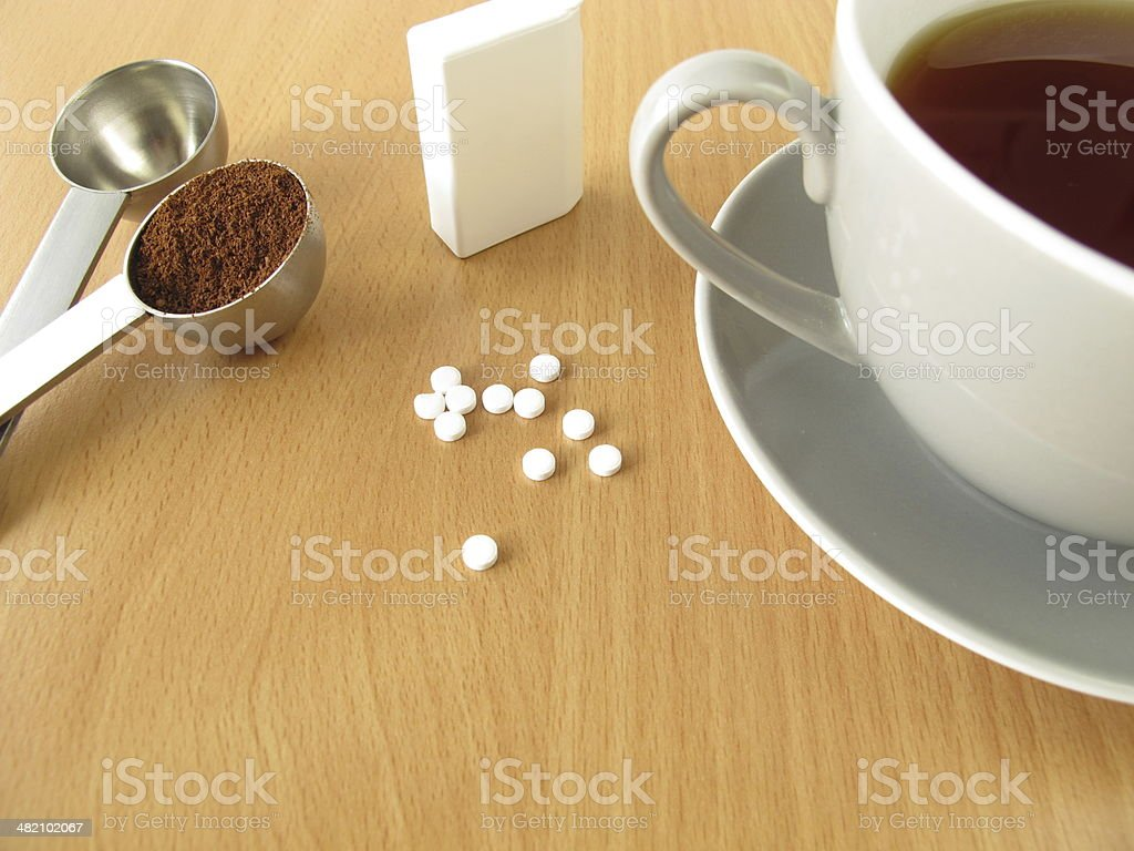 Black coffee with sweetener tablets stock photo
