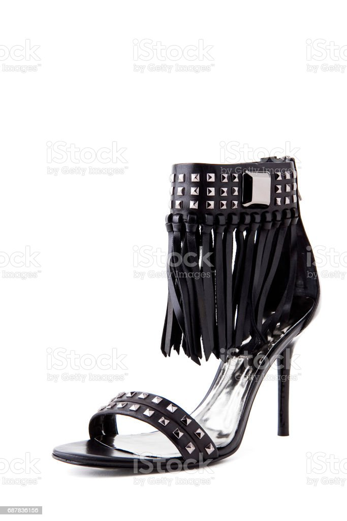 Black colour rocker high heel fashion shoe on background stock photo
