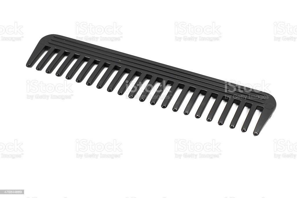 Black comb isolated on white background stock photo