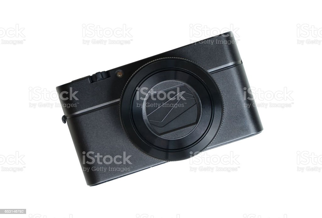 Black compact Camera isolated on white background stock photo