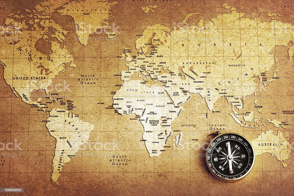 Black compass on vintage map royalty-free stock photo