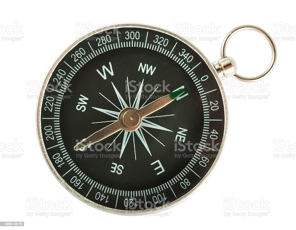 Black compass top view stock photo