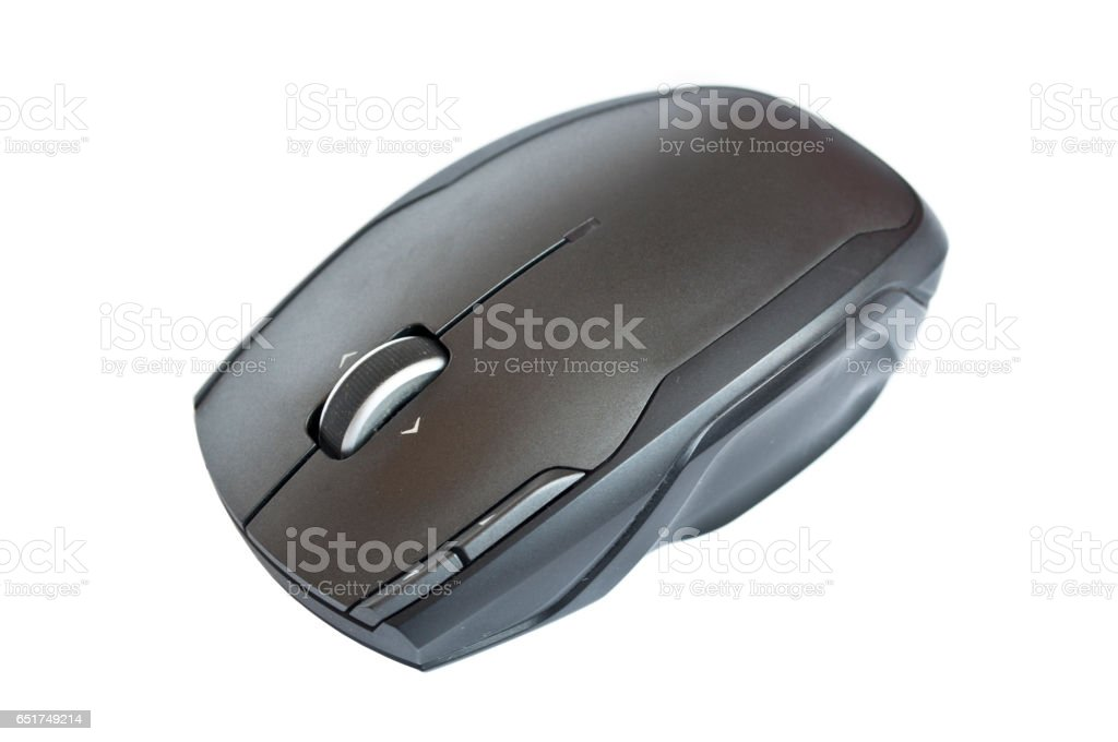 Black computer mouse isolated on white stock photo