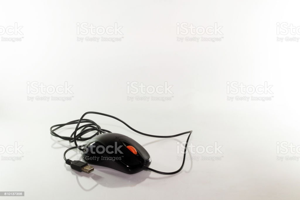 Black computer mouse on white background stock photo