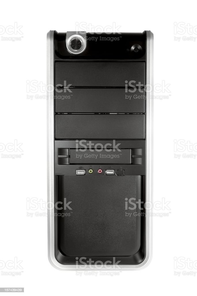 Black Computer Tower front on white stock photo