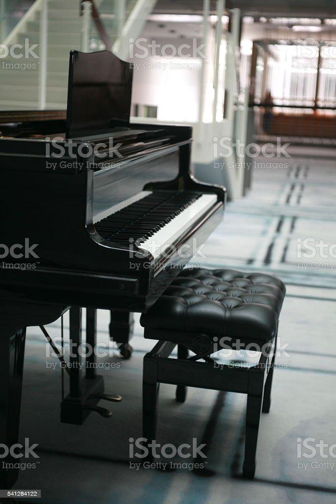 Black Concert Piano stock photo