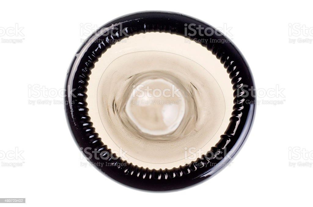 Black condom isolated on white stock photo