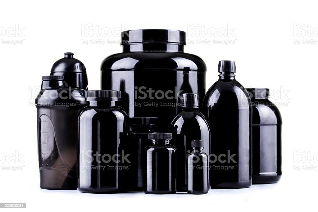 Black containers stock photo