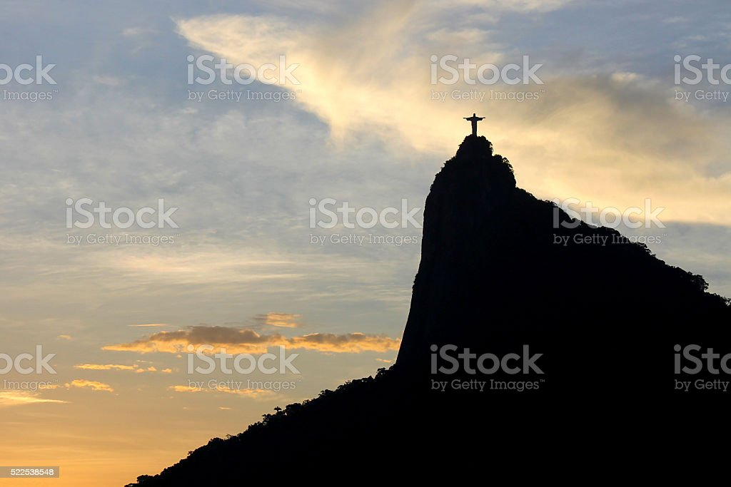 Black Corcovado at sunset stock photo